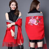 秋冬围巾披肩两用女旗袍外搭羊毛羊绒双面可穿带袖子流苏斗篷披风