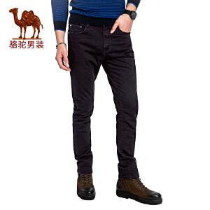 骆驼男装 2017年秋季新款微弹合体直筒中腰时尚纯色男青年牛仔裤