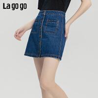Lagogo2019秋新款高腰A字半身裙蓝色纯棉铆钉牛仔裙女ICBB137D51