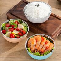 饭米粒304不锈钢碗艾米纤纤碗不锈钢彩色双层隔热饭碗儿童饭碗11.5cm