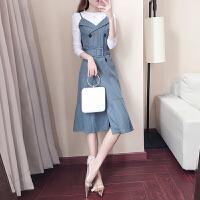 2018新款女装春装韩版上衣配裙子两件套背带连衣裙港味套装潮 套装