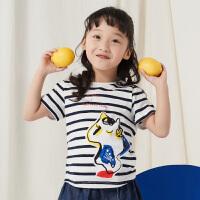 【品牌秒杀价:49元】马拉丁童装女童短袖18夏新款条纹卡通图案套头衫印花T恤