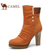 camel骆驼女鞋 中筒靴 冬季新品 头层牛皮侧拉链细跟超高跟优雅女靴