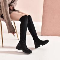 19冬珂卡芙新款【真皮前后帮】时尚显瘦过膝弹力时装靴百搭女靴