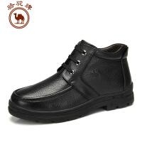 骆驼牌 AMCAMEL 男鞋  头层皮休闲靴子冬季潮流 短筒系带皮靴男士短靴