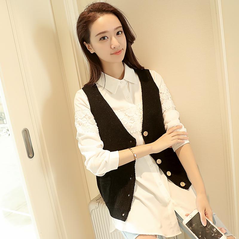 秋季女装韩版chic港味宽松显瘦无袖针织开衫马甲背心学生上衣外套