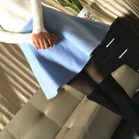 秋冬新款�n版羊毛呢短裙蓬蓬裙半身裙黑色高腰�闳狗雷吖庋�裙�[裙
