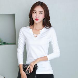 秋装新品女装上衣韩版长袖t恤女装修身显瘦打底衫女纯色v领小衫