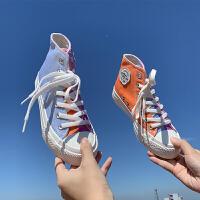 紫外线变色帆布鞋女鞋子光感秋季2019品潮鞋韩版秋鞋高帮鞋 白色高帮 35
