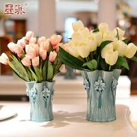 墨菲欧式手工陶瓷花瓶 创意客厅摆件简约装饰工艺品台面仿真花艺