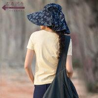 生活在左蓝印花布系列春夏新款修身显瘦圆领T恤女士短袖百搭上衣
