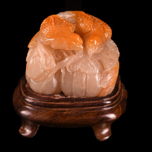 手工雕刻《双喜临门摆件》结晶寿山石取巧全手工精雕寓意吉祥