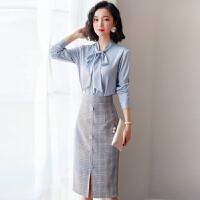 安妮纯职业连衣裙春装2020新款女装初春通勤气质修身洋气衬衫裙两件套装