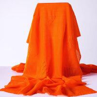 羊毛围巾秋冬女士围巾保暖时尚羊毛纯色刺绣围巾披肩