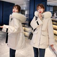 新款羽绒棉服大毛领工装棉服女韩版宽松bf加厚派克服棉袄外套