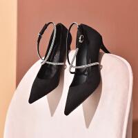 19珂卡芙新款【气质绑带】时尚尖头细跟耐磨女鞋显瘦显白女单鞋
