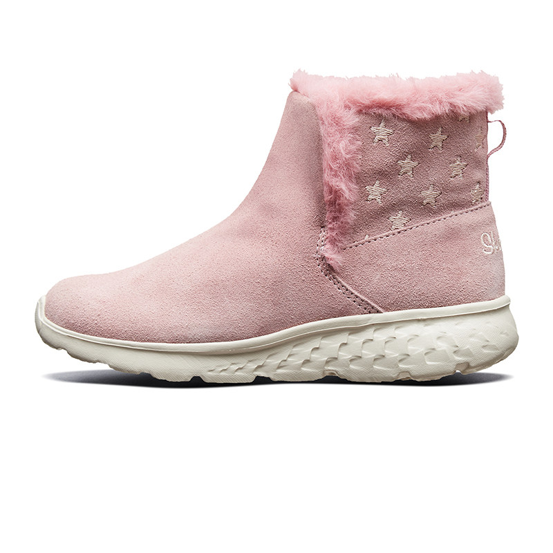 Skehers斯凯奇童鞋冬季新款反毛皮靴子舒适休闲透气绒里冬靴短靴 女鞋37码、男鞋41码及以上偏大;请参照内长或询问客服购买