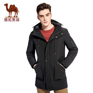 骆驼男装 冬季新款加厚连帽纯色休闲男青年中长款羽绒服