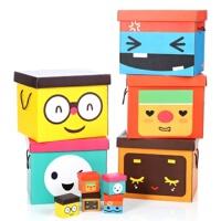 博纳屋 西米家族收纳箱 大号有盖整理箱 衣物储物箱 卡通表情百纳箱 纸箱