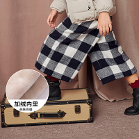 【满200减130】迷你巴拉巴拉女童格子阔腿裤冬新款休闲裤童装保暖儿童加厚长裤子