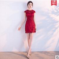 新娘敬酒服 新款时尚订婚红色显瘦韩式短款结婚晚礼服女