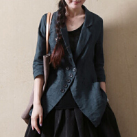 亚麻小西装女士文艺休闲黑色修身七分袖短款西服棉麻上衣外套秋天 墨蓝色 X
