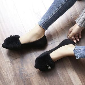 O'SHELL欧希尔新品105-B17-1韩版磨砂绒面平底鞋女士獭兔毛懒人鞋