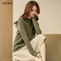 丝2018秋冬新款纯山羊绒衫 女短款套头加厚毛衣针织衫 橄榄绿