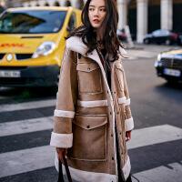 新女士外套加大码设计师冬季新款帅气复古女装四袋皮毛一体外套 卡其色