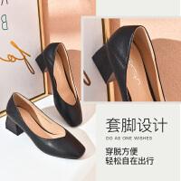 2019珂卡芙新款【简约大气】时尚百搭女鞋尖头粗跟舒适女单鞋