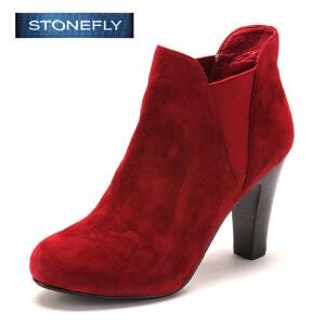 STONEFLY/斯通富来冬季绒面羊皮时尚高跟松紧带短靴女SD44117043