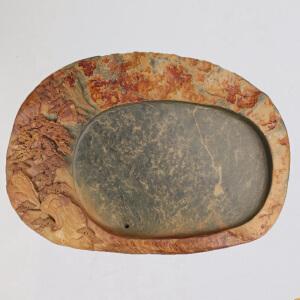 中国非物质文化遗产传承人群 钟景锐作品 《锦绣河山》茶盘 绿端