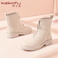 19珂卡芙冬季新款【耐磨】时尚个性马丁靴前拉链时装靴舒适女靴