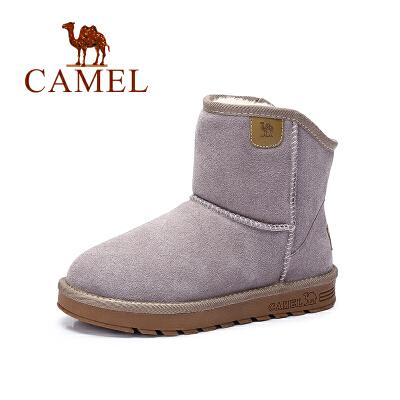 camel骆驼女鞋  韩版简约休闲保暖舒适雪地靴反绒 短靴秋季焕新 全场满59元包邮