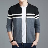 针织开衫男薄款修身毛衣条纹针织衫棒球领外套韩版潮流