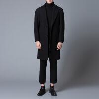 毛呢大衣男2018冬季新款韩版青年宽松男装中长款外套双面呢子大衣RURUTOTO8711