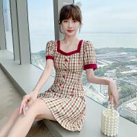 千喜步步高2021法式复古修身显瘦格子气质名媛范短袖连衣短裙