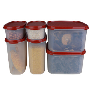 特百惠MM干货橱柜储藏保鲜盒套装6件套方形+椭圆经典款