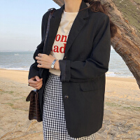 小西装女2018春季新款韩版百搭复古宽松显瘦翻领长袖开衫外套学生 黑色 显瘦 均码