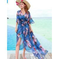 新款V领小香风沙滩裙海边度假长裙修身显瘦系带开衫连衣裙两件套  支持礼品卡