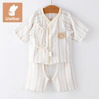 威尔贝鲁 宝宝纯棉哈衣新生儿和尚服套装儿童宝宝内衣夏季款套装