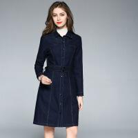 新女士外套B家专柜女式长款风衣春秋季单排扣修身牛仔外套欧美气质新款 蓝色