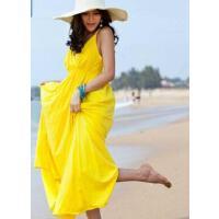 波西米亚棉大码V领显瘦吊带韩版海边度假旅行沙滩裙连衣裙长裙 支持礼品卡