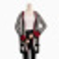 新女士外套实拍女装2018秋冬新款竖条纹中长款针织开衫毛衣外套长袖时尚 黑白 均码