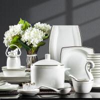 碗碟套�b 家用��s景德�陶瓷餐具�W式骨瓷餐具套�b碗�P�M合碗筷