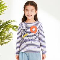 【1件4折价:107.6元】马拉丁童装女童长袖T恤春装2019新款儿童洋气别布刺绣条纹T恤