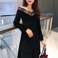 2017秋冬季新款女装蕾丝绒打底裙子内搭连衣裙长袖蓬蓬