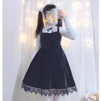秋冬款 优雅大蝴蝶结丝绒吊带连衣裙+百搭荷叶领修身毛衣打底衫 黑色吊带裙 不含毛衣