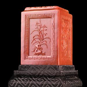 《梅兰竹菊博古正方章》寿山石取巧四面精雕适合创作篆刻