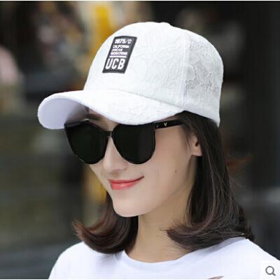 时尚百搭 蕾丝透气棒球帽 女士鸭舌帽白色粉色防晒太阳帽潮流逛街夏 品质保证 售后无忧 支持货到付款